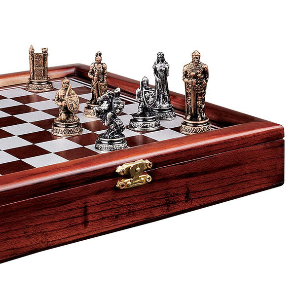 "10""sq Wide ""The Knights' Mortal Conflict"" Wood-Framed Chess Set"