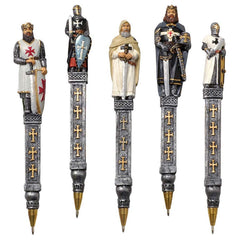 "6.5"" Medieval Knight Statue Sculpture Decorative Pen Gift Set - Set of 5"