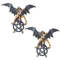 Gothic Winged Vampire Witch Skull Circle Wall Sculpture Statue Figurine - Set of 2