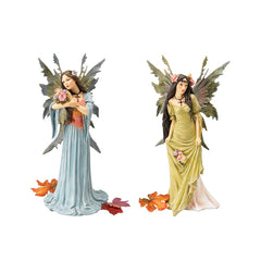"12.5"" Magical Enchanted Forest Fairies Sculpture - Set of 2"