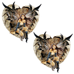 Dark Fairy Femme Fatale Wall Sculpture Statue Figurine - Set of 2