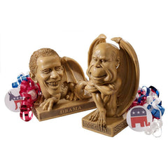 Exotic President Barack Obama and McCain Gothic Dragon Statue Sculpture