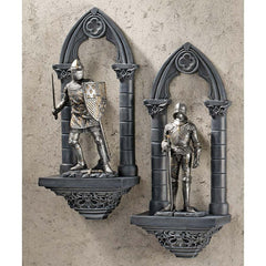 "13"" 3-dimensional Arched Gothic Medieval Armored Knights Wall Sculpture Statu..."