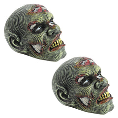 Gruesome Lost Zombie Head Garden Statue: Set of Two