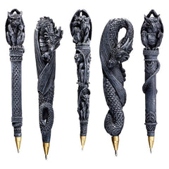"6.5"" Gargoyles Dragons Sculpture Statue Pen Gift Set - Set of 5"