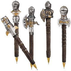 "6.5"" Knights Shield Battle Armor Sculpture Statue Pen Gift Set - Set of 5"