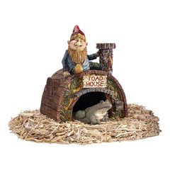 Home Garden Gnome's Toad House Statue Sculpture