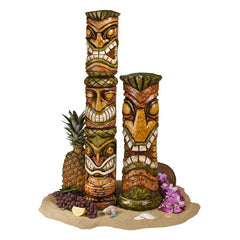 Exotic Tropical Aloha Hawaii Tiki Sculpture Statue Figurine -Set of 2