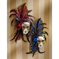 "20"" Classic Venetian Venetian Feathered Carnival Wall Mask Sculpture Statue C..."