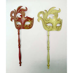 Fashionable Colombina Rosso & d'Oro Turbolenza Carnivale Masks