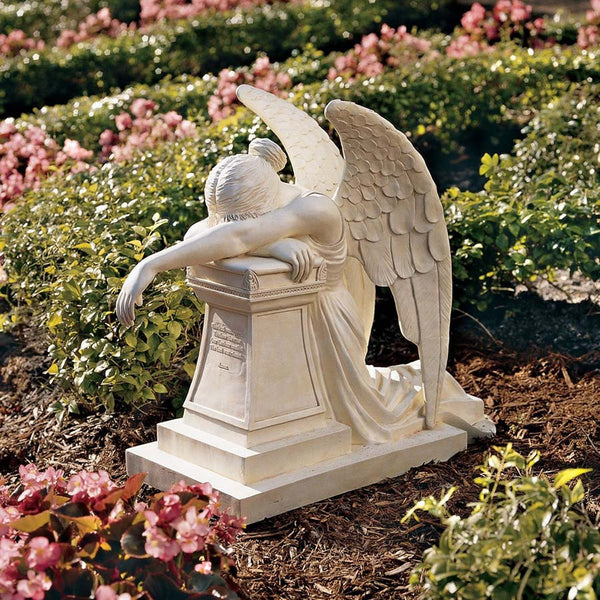 ESTATE SIZE WEEPING ANGEL MONUMENT