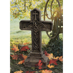"24"" Gothic Vampire Blood Cross Statue Tombstone Sculpture"