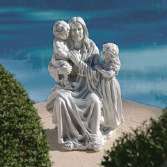 "28"" Jesus Loves the Little Children Religious Christian Garden Sculpture Figurine Statue"