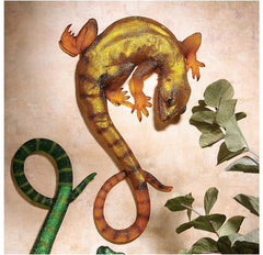 "11.5"" Luminescent Yellow Lizard Wall Sculpture"