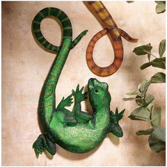 "11.5"" Luminescent Green Lizard Wall Sculpture"