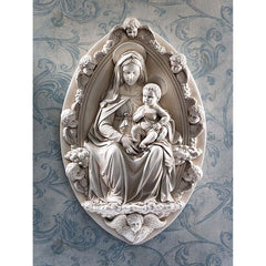 Classic Italian Madonna and Child Cherub Wall Sculpture Statue Inspired By An...