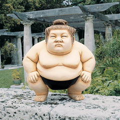 "14"" Asian Sumo Wrestler Home Garden Sculpture Statue Figurine"