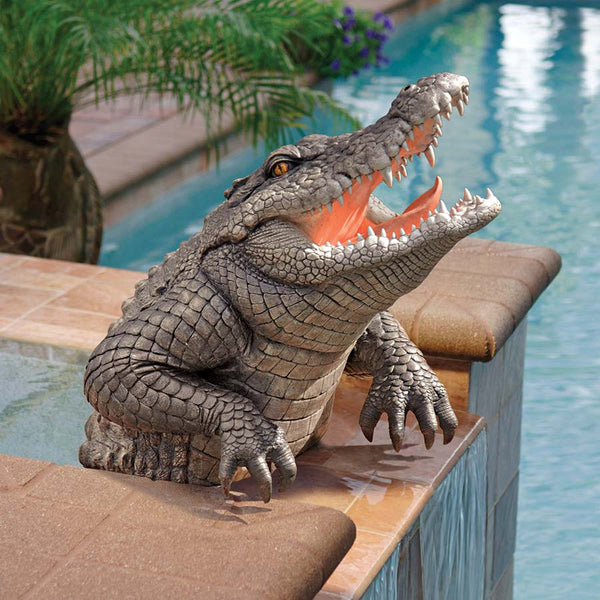 Classic Alligator Crocodile Wildlife Swamp Home Garden Poolside Sculpture Statue