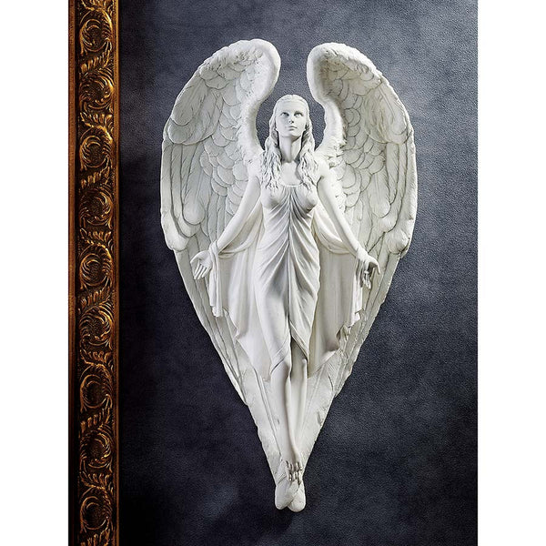 "17"" Classic Collectible Winged Angel Wall Sculpture Statue Figurine"