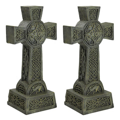 "22"" Classic Architectural Celtic High Cross Statue Sculpture - Set of 2"