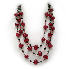 Awash in Crimson Jewelry Ensemble: Necklace