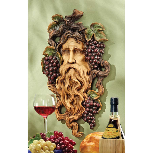"22.5"" Classic French God of Grape Wine Home Garden Wall Sculpture Statue"