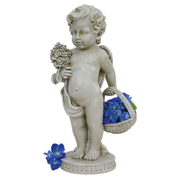 "18"" Classic Child Home Garden Cherub's Bouquet Statue"