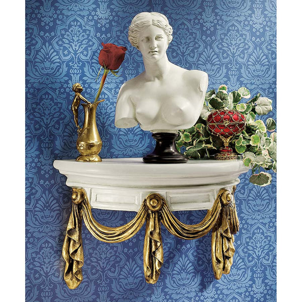 "10.5"" Classic French Antiqued Drapes and Tassels Wall Shelf"