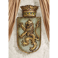 Classic European Medievial Lion Beast Shield Wall Sculptural Décor Bravery Strength Symbol