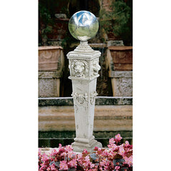 "41"" Classic European Lion Head Sculpture Statue Shining Globe Home Garden Pillar Statue"