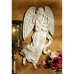 "20"" Classic Musical Angel Wall Sculpture Antique Stone-finished Christian Art"