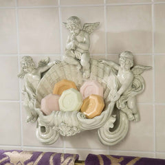 "11.5"" Collectible Cherub Bathroom Wall Sculpture Soap Holder [Kitchen]"