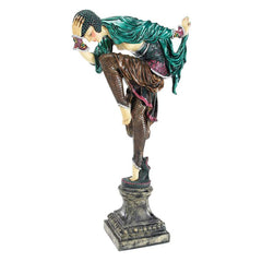 "17"" Ankara Dancer Art Deco Sculpture Statue Figurine Inspired By Claire Jeann..."