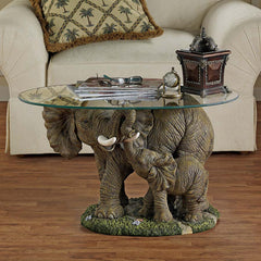 African Wildlife Elephant Mother and Calf Glass Topped Cocktail Table [Kitchen]