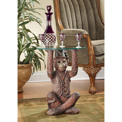 "21.5"" Classic African Moroccan Monkey Business Sculpture Statue Side Table"