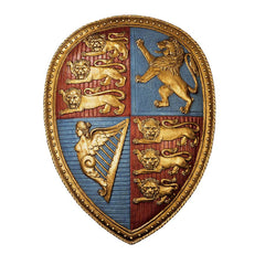 "24"" English Royal Coat of Arms Shield Sculpture Wall Décor"