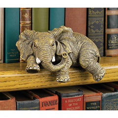 African Elephant Desktop Book Shelf Sculpture
