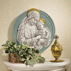 Mary Mother Jesus Child Wall Sculpture Decor Inspired By Italy's Famed 15th-century Della Robbia Family