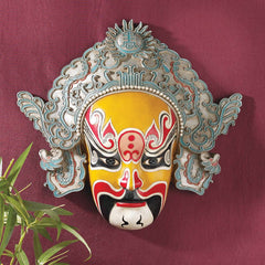 "13.5"" Classic Chinese Asian Peking Opera Mask Wall Sculpture Art Deco"