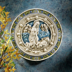 "11.5"" Adoration of Child Roundel Wall Sculpture Inspired By della Robbia (143..."