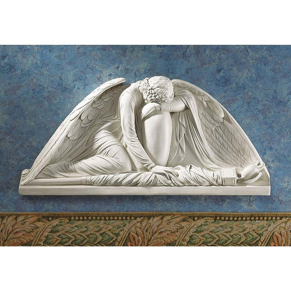 "24"" Classic European Winged Emotional Angel Architectural Sculptural Wall Pediment (Xoticbrands)"