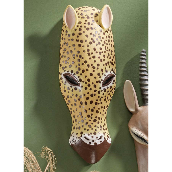 "13"" African Wildlife Jaguar Wall Mask Décor"