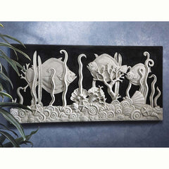 "31""w 20th-century Replica Classic Aquarium Fish Wall Frieze Sculpture"