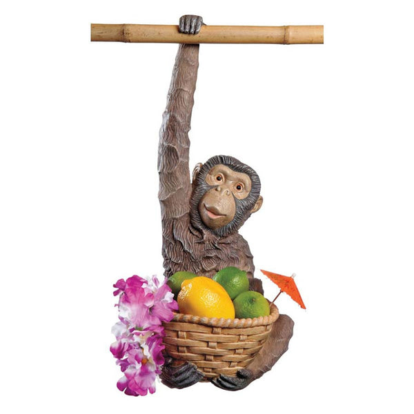 "18"" Tropical Animal Monkey Sculpture Statue Fruit Basket"