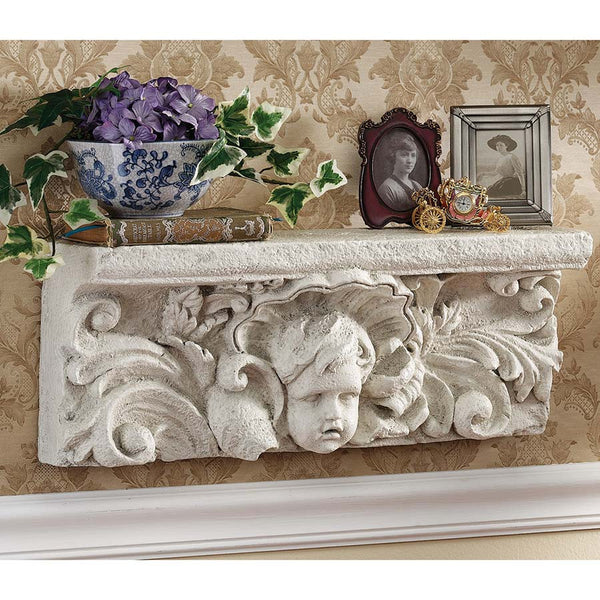 "20"" Cherub Child Decorative Sculpture Archietectural Wall Shelf Pediment"