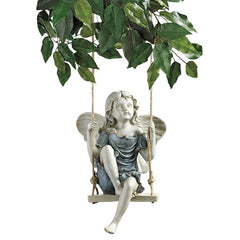 "11.5"" Summertime Fairy on a Swing Statue"