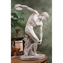 "19"" Classic Nude Male Greek Discobolos Sport Sculpture Statue Figurine c. 450..."