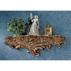 Antiqued Gold Art Nouveau Architectural Sculptural Wall Shelf