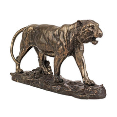 "8.5"" Bronze Finish Indian Wildlife Tiger Statue Sculpture Figurine"