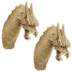 Classic Chinese Dragon Wall Sculpture Statue Figurine - Set of 2